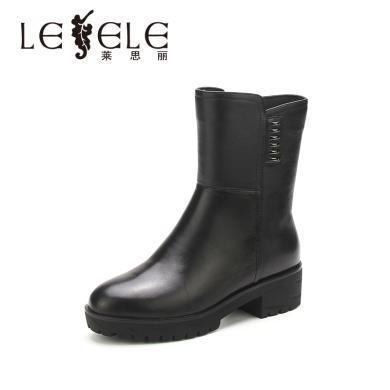 LESELE/萊思麗新款冬季拉鏈牛皮女靴 圓頭粗跟短靴中跟舒適靴KE81-LD4753