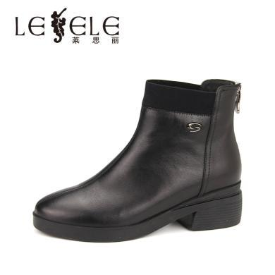 LESELE/萊思麗冬季新款高跟職業女靴 加絨牛皮粗跟黑色短靴女KE81-LD4952