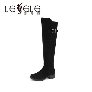 LESELE/萊思麗冬季新款高筒長靴子 羊猄彈力布女靴方跟長筒靴EZ81-LD4099