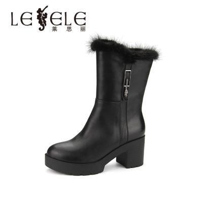 LESELE/萊思麗冬季新款牛皮女靴 圓頭時裝拉鏈粗高跟中筒靴女WL81-LD0272