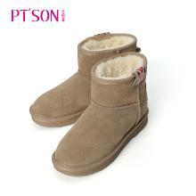 百田森2018新款圓頭平跟牛皮厚絨里雪地靴 PJX18856