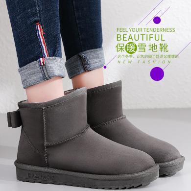 花花公子女鞋雪地靴女短靴子平底冬季保暖加绒厚底圆头学生J163750523a