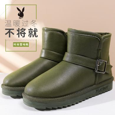 花花公子冬季新款雪地靴女鞋加厚加绒保暖平底短筒裸及踝靴子J151750571a