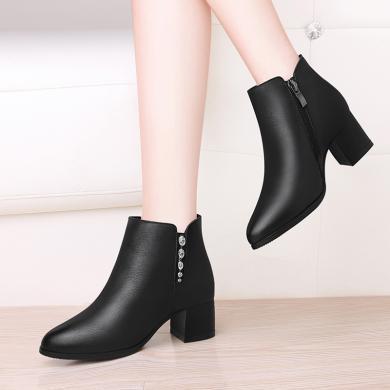 古奇天倫秋季新款粗跟側拉鏈高跟馬丁靴女短靴女靴9165-2