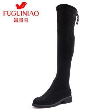 富贵鸟女靴子性感显瘦粗跟过膝靴弹力布高筒中跟长筒靴女鞋 G89P402SE