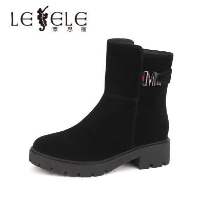 LESELE/萊思麗冬季新款牛猄中跟女靴 保暖絨里休閑方跟短靴女KE81-LD0469