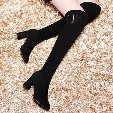 百年纪念长靴女过膝靴性感高跟尖头过膝盖百搭韩版高筒靴粗跟女靴子秋冬季新款时尚女鞋bn1745