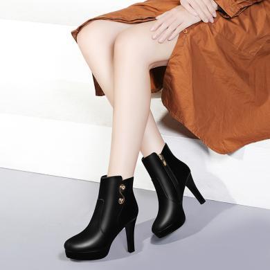 金絲兔粗跟高跟鞋女春秋冬款短靴馬丁單靴女皮鞋子