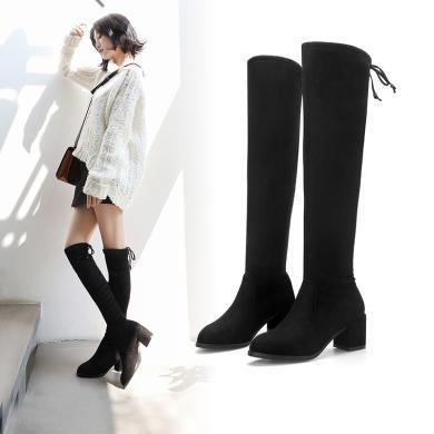 阿么高跟長筒靴顯瘦過膝靴系帶粗跟高筒靴秋冬新款黑色彈力靴