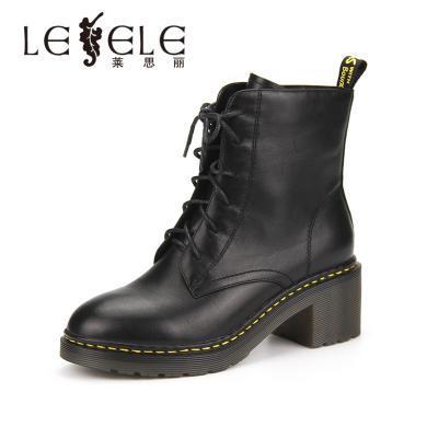 LESELE/萊思麗冬季新款舒適短靴 女粗跟馬丁靴綁帶高跟女短靴WL81-LD0464
