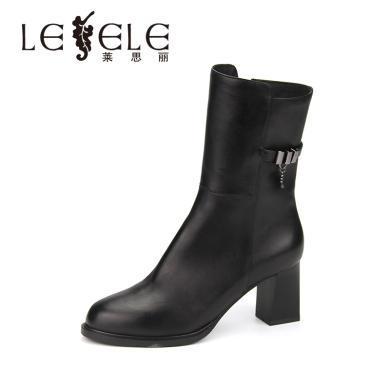 LESELE/萊思麗冬季新款黑色高跟靴 圓頭牛皮女靴粗跟中筒靴女KE81-LD4817