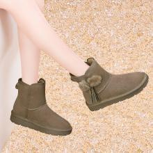 古奇天伦冬季新款加绒雪地靴牛皮短靴百搭女靴棉鞋9238