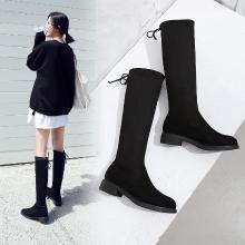 阿么2018冬季新款长靴女百搭韩版过膝女鞋粗跟瘦腿高筒长筒女靴