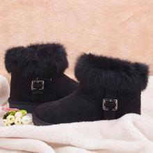 100KM猩猩猴 真皮雪地靴女短靴子短筒雪地棉鞋男女鞋秋冬季加絨學生面包鞋