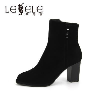 LESELE/萊思麗秋冬新款女靴子羊猄女鞋 圓頭拉鏈粗跟高跟短靴KE81-LD4709