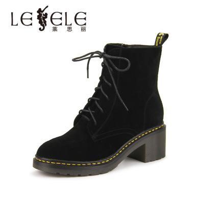LESELE/萊思麗冬季新款圓頭馬丁靴高跟靴子 羊猄女靴粗跟短靴WL81-LD0465