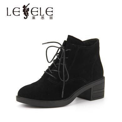 LESELE/萊思麗冬季新款中跟系帶女鞋子 圓頭牛京靴粗跟短靴女KE81-LD4756
