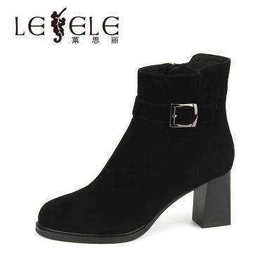 LESELE/萊思麗冬季新款圓頭女靴 絨面羊猄皮粗跟靴高跟短靴女KE81-LD4820