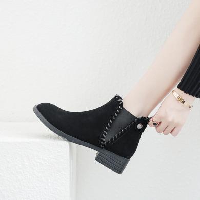 【簡約時尚】阿么2018上新英倫風短靴ins火爆休閑皮鞋切爾西女靴