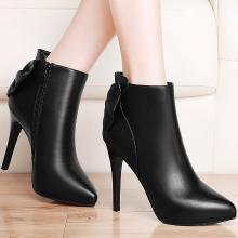 古奇天伦秋冬新款尖头侧拉链细跟女短靴高跟马丁靴84831