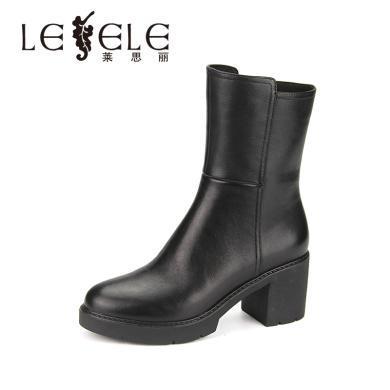 LESELE/萊思麗冬季新款拉鏈短筒女靴 牛皮圓頭鞋女粗高跟短靴KE81-LD4785