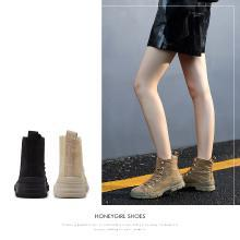 honeyGIRL2018秋冬新款马丁靴女英伦风短靴网红平底高帮工装靴潮HG18WI34-XT001