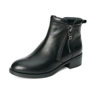 百田森 头层牛皮金属拉链舒适平跟短靴PYQ18823