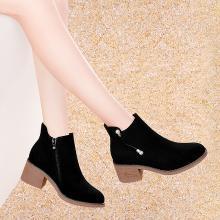 古奇天伦冬季新款马丁靴短筒百搭秋短靴女粗跟靴9146