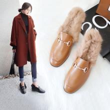 阿么2018秋冬牛皮兔毛女鞋韩版平底单鞋休闲豆豆鞋