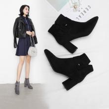 阿么2018新款短靴女粗高跟方扣单靴秋冬季短筒靴子裸靴韩版百搭鞋