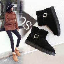 阿么真皮短筒雪地靴女新款棉鞋短靴磨砂保暖加绒平底软底靴子