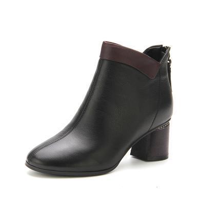 LESELE/萊思麗冬季新款牛皮拉鏈女靴 圓頭短靴粗高跟時尚靴女VSH81-LD4685