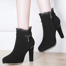 古奇天伦冬季新款磨砂黑色粗跟防水台加绒圆头女鞋8759-1