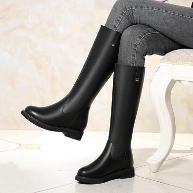 百年纪念 全皮黑色高筒靴子长靴皮质皮带扣高筒靴长筒靴女靴牛皮长筒靴高跟粗跟长靴保暖长筒靴子女冬bn1758