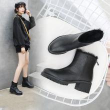 阿么2018秋冬新款粗跟短筒女靴高跟百搭短靴保暖马丁靴后拉链女鞋