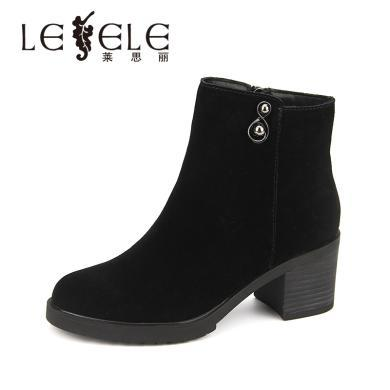 LESELE/萊思麗冬季新款粗高跟短筒靴 圓頭牛猄女靴拉鏈短靴女EZ81-LD5978