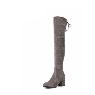 BT 靴子女秋冬過膝靴女彈力靴皮女靴長筒高跟靴01011
