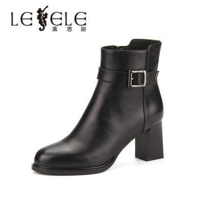 LESELE/萊思麗冬季新款高跟女靴子 圓頭牛皮女短靴粗跟短靴女KE81-LD4819