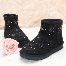 100KM猩猩猴 冬季防滑短靴女鞋親子雪地靴加絨雪花百搭棉鞋女靴