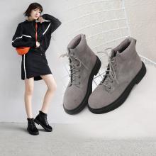 阿么2018上新时尚短靴ins火爆休闲皮鞋牛反皮低跟女鞋