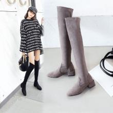阿么过膝长靴女秋冬2018新款中跟方跟显瘦高筒弹力靴瘦腿女瘦瘦靴