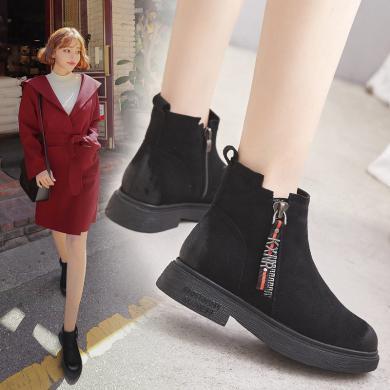 潮牌秋冬新款靴子加絨短靴女鞋高幫鞋短筒馬丁靴LP-Q5-2B