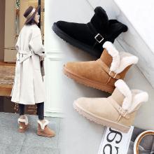 阿么2018秋冬新款雪地靴加厚加绒保暖中筒短靴毛毛靴百搭学生女鞋