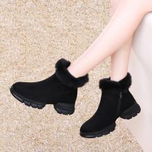 古奇天伦冬季新款靴子平底黑色加绒保暖毛毛短靴女9240