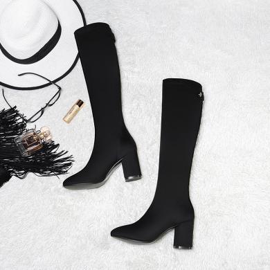 女百年紀念高筒靴粗跟女靴色高幫筒靴時尚長筒靴防水臺加絨靴子短毛絨 bn1744