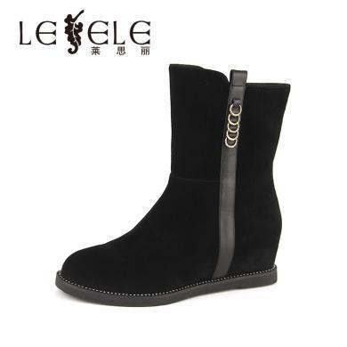 LESELE/萊思麗冬季新款羊猄女靴 圓頭厚底保暖加絨休閑短靴女YR81-LD4453