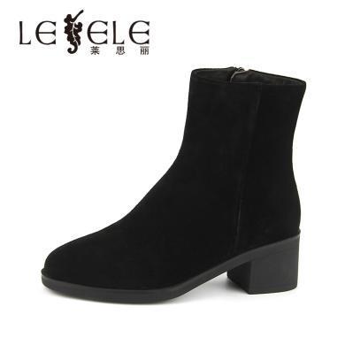 LESELE/萊思麗冬季新款加絨高跟短筒女靴 牛猄圓頭粗跟短靴女KE81-LD4892