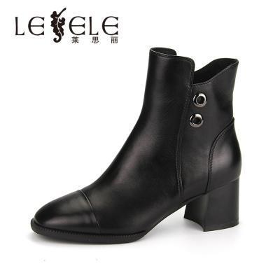 LESELE/萊思麗冬季新款拉鏈短筒女靴 牛皮圓頭鞋女粗高跟短靴KE81-LD4797