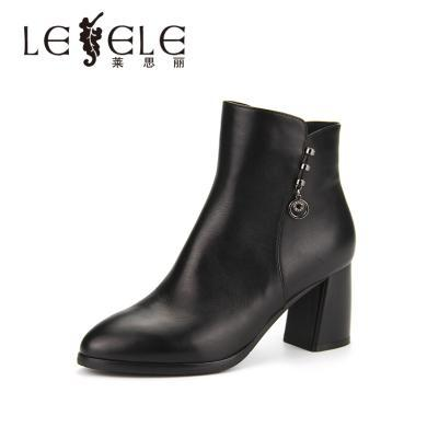 LESELE/萊思麗秋冬新款女靴職業牛皮女鞋 圓頭拉鏈粗高跟短靴KE81-LD4764