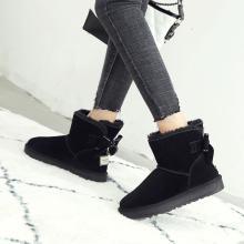 阿么平底保暖雪地靴女真皮厚底短靴加绒韩版防滑棉鞋蝴蝶结棉靴潮